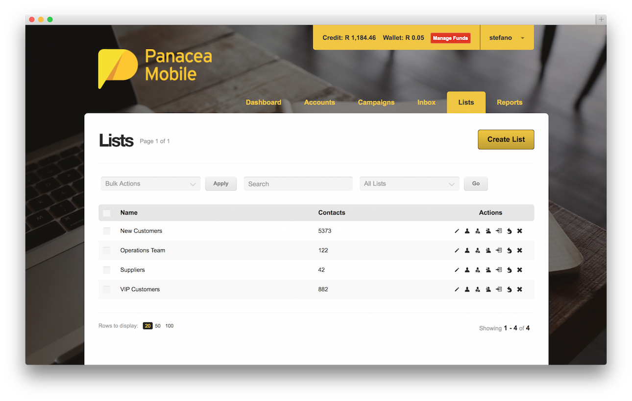 Panacea Mobile Dashboard Lists