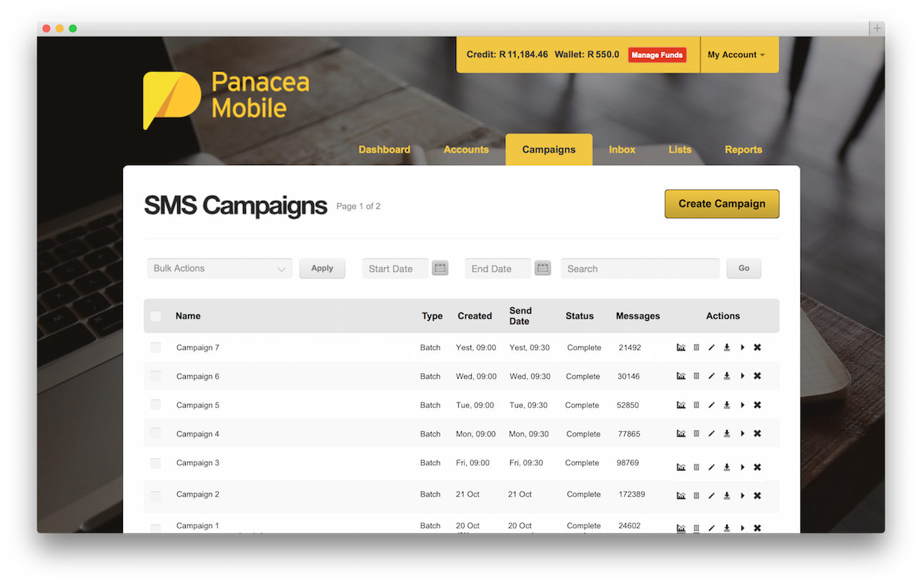 Panacea Mobile Dashboard SMS Campaigns
