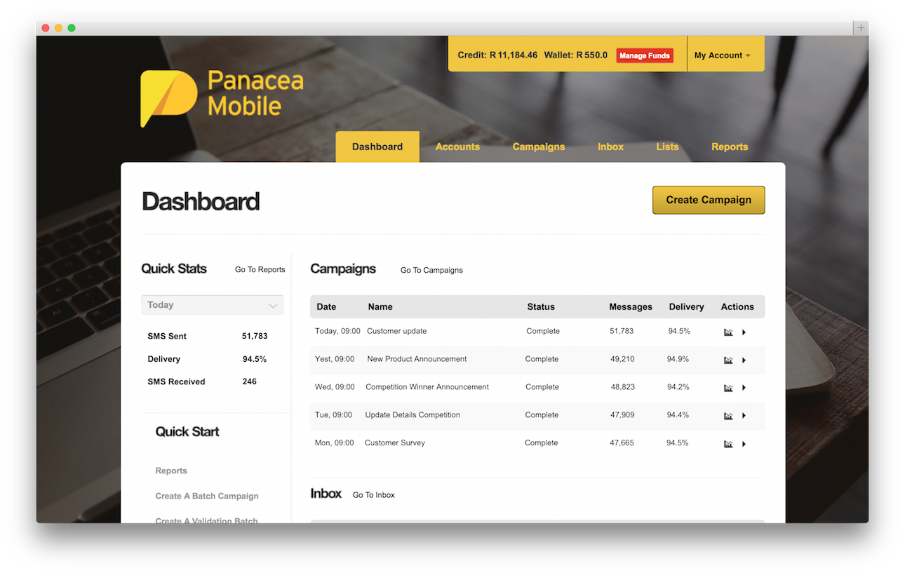 Panacea Mobile Dashboard